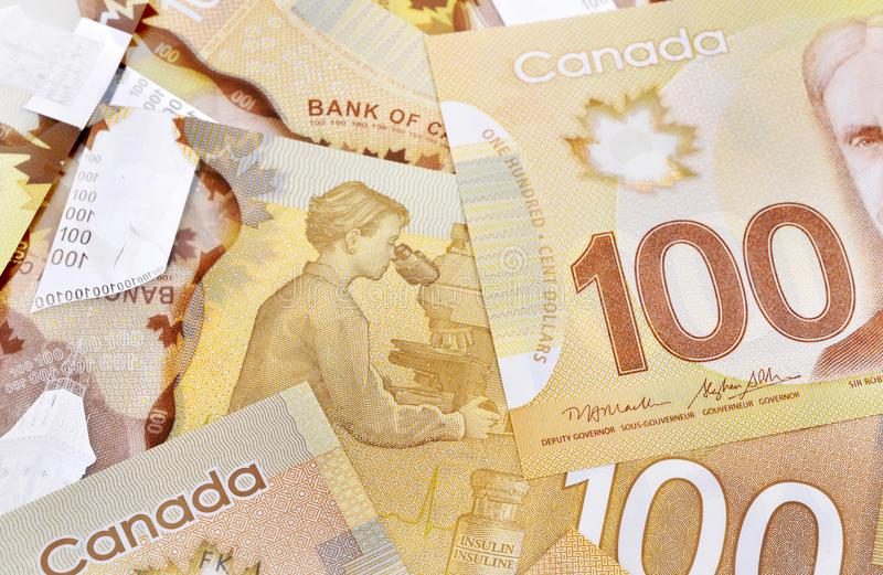 Canadian banknotes Background. Background shot of Canadian banknotes, Canadian banknotes are the banknotes or bills of Canada stock photo