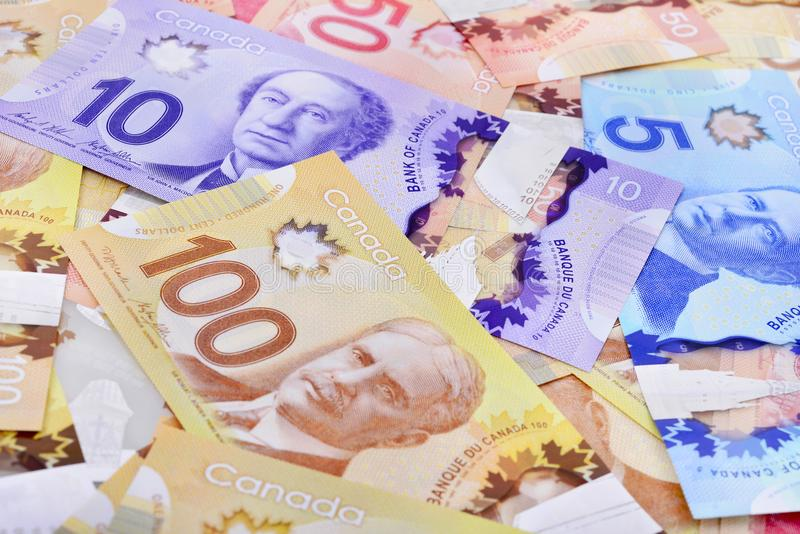 Canadian banknotes Background. Background shot of Canadian banknotes, Canadian banknotes are the banknotes or bills of Canada royalty free stock photography