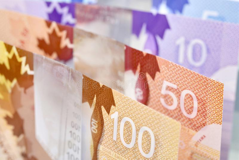 Canadian banknotes Background. Background shot of Canadian banknotes, Canadian banknotes are the banknotes or bills of Canada stock images