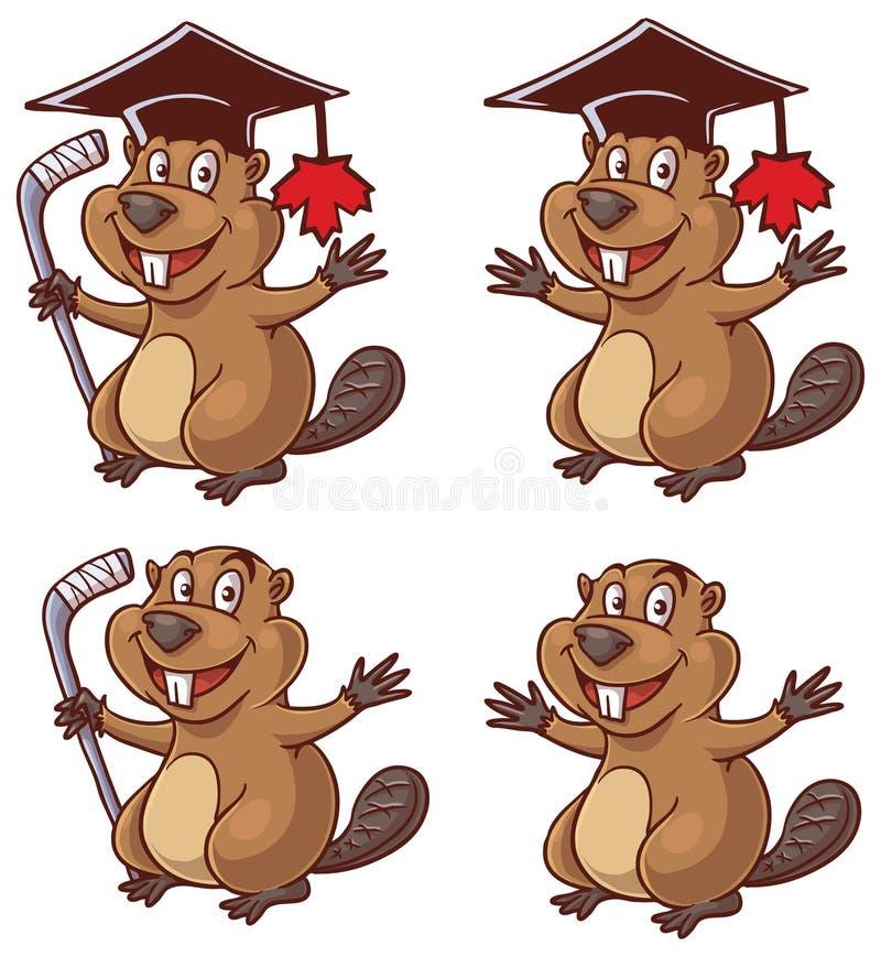 Canadian beaver maskot cartoon vector illustration