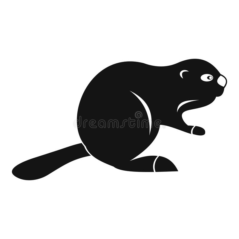 Canadian beaver icon, simple style stock illustration