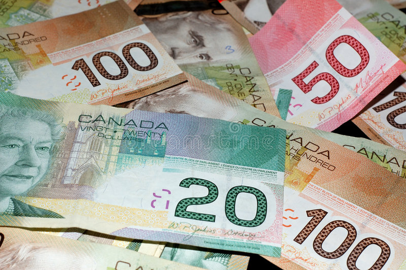 Canadian Bills 2 ($20, $50, $100) stock photo