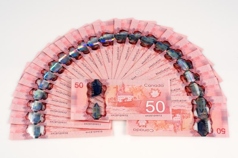 $50 Canadian Bills Fanned out Currency $1100 Cash stock photo
