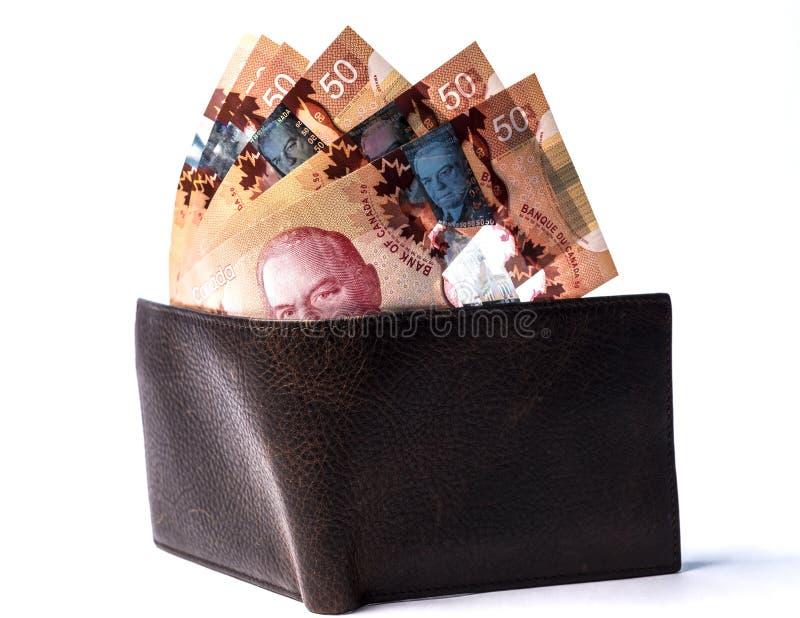 Canadian bills on wallet stock image