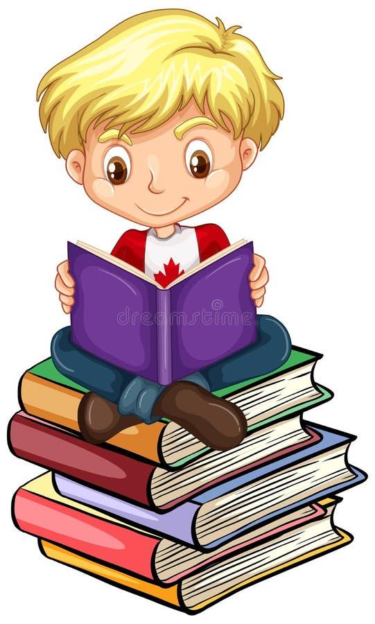 Canadian boy reading books. Illustration royalty free illustration
