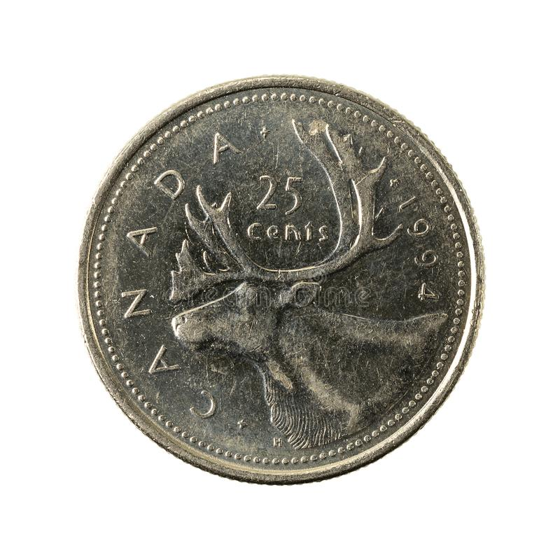 25 canadian cent coin 1994 obverse isolated. On white background, specimen stock photo