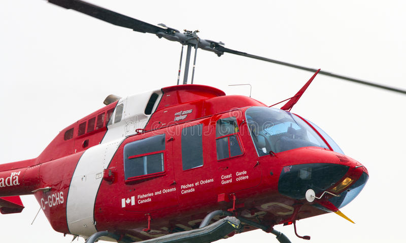 Canadian Coast Guard Helicopter Close Up royalty free stock images