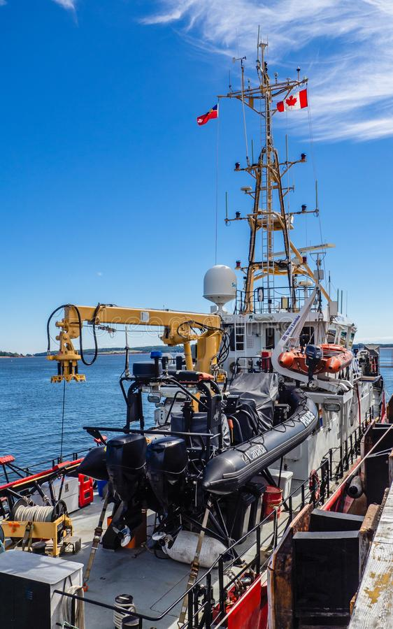Canadian Coast Guard and Royal Canadian Mounted Police mid-shore patrol vessel CCGS Caporal Kaeble V.C. Docking at Port Charlottetown, Prince Edward Island stock image