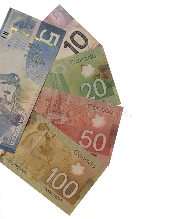 Canadian currency of denomination 5, 10, 20, 100 royalty free stock photo