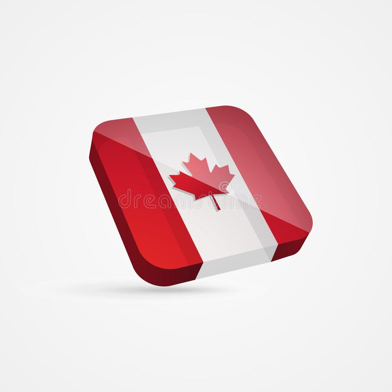Canadian 3D Flag. 3D Vector Illustration of Canadian Flag royalty free illustration