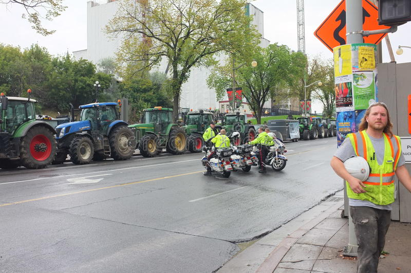 Canadian Dairy Farmers Protest stock image