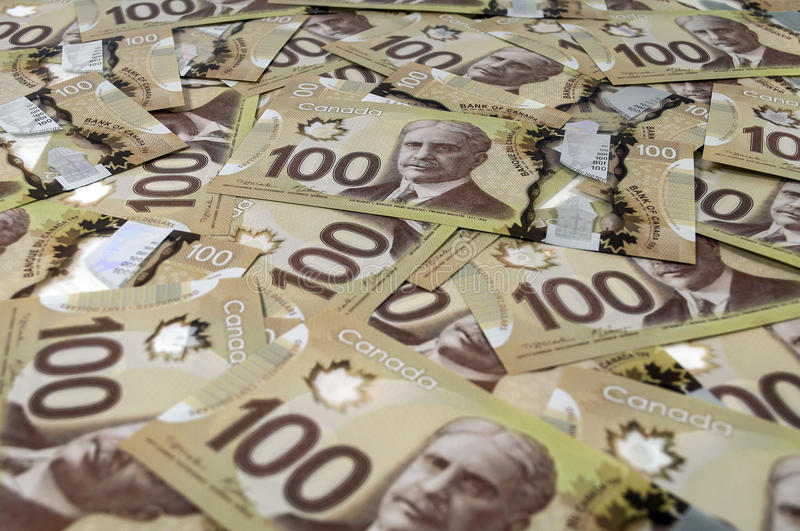 100 Canadian dollar banknotes. royalty free stock photography