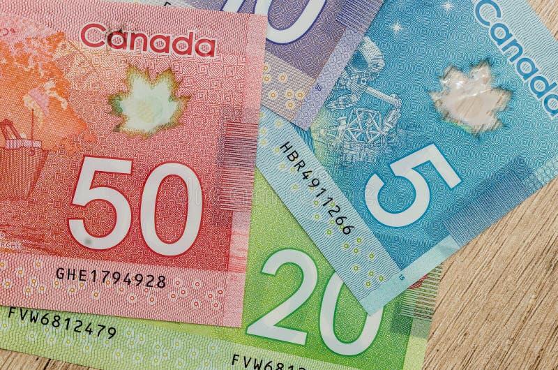 Canadian dollar bills stock images