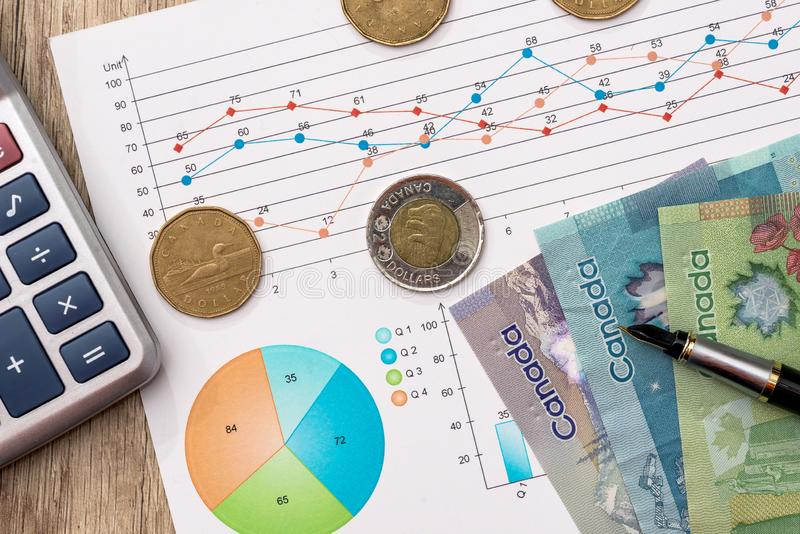 Canadian dollar with business diagram and pen. Canadian dollar with business diagram , pen and calcualtor on wooden table stock photo