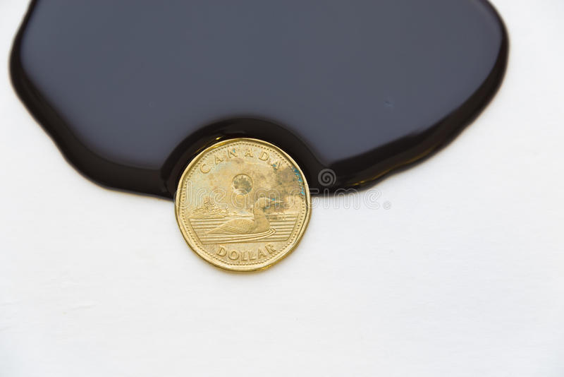 Canadian dollar drowning in oil. Canadian dollar a petro dollar currency:Thick black liquid about to engulf a coin. A one dollar Canadian coin is in way of a royalty free stock image