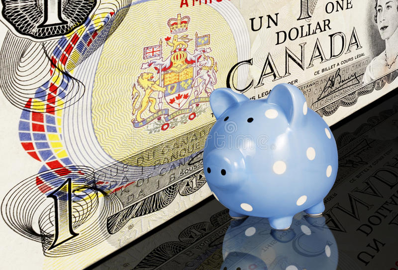 Canadian Dollar Piggy Bank. A Canadian one dollar bill and blue and white dotted piggy bank on reflective black surface stock photo