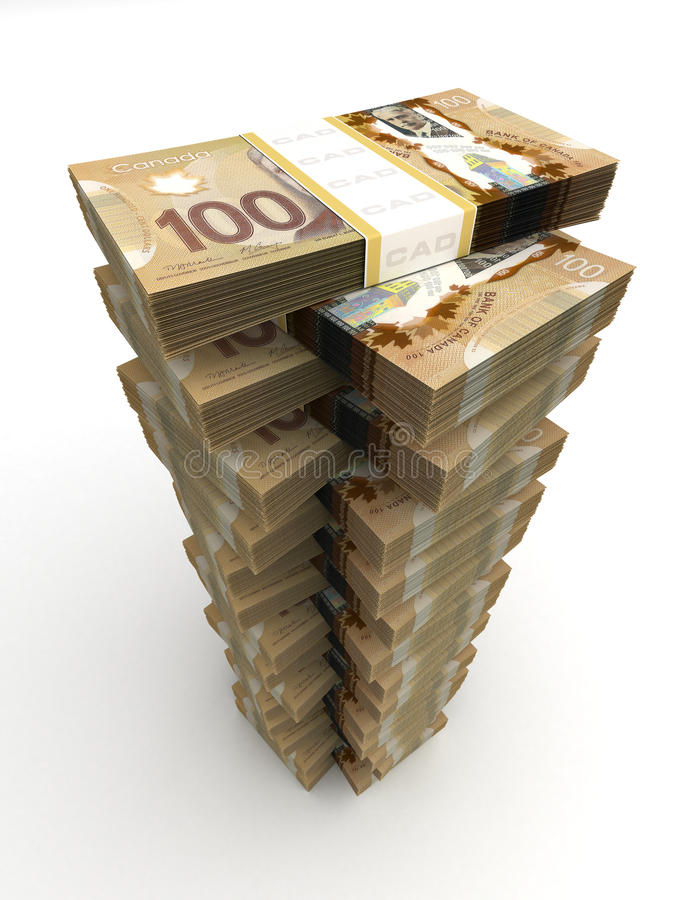 Canadian Dollar Tower. (computer generated image royalty free illustration