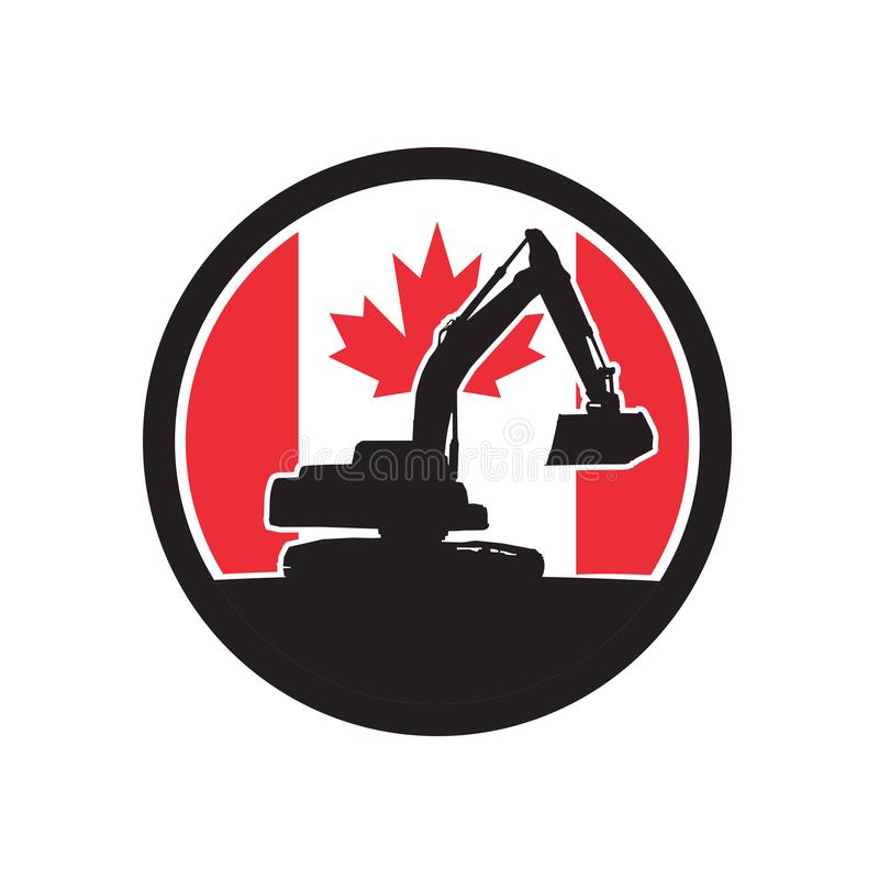 Canadian Excavator Canada Flag Icon vector illustration