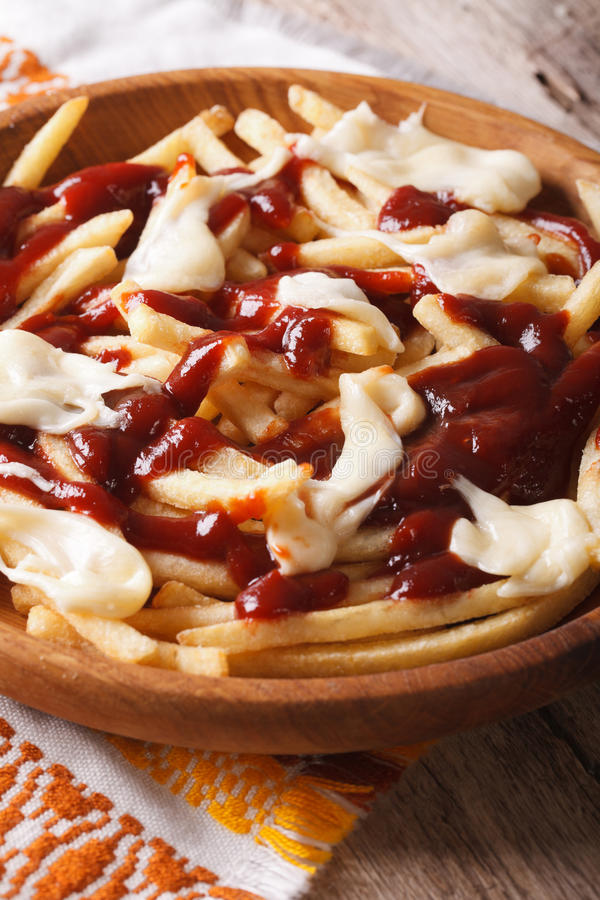 Canadian fast food poutine with sauce and cheese closeup. Vertic stock photography