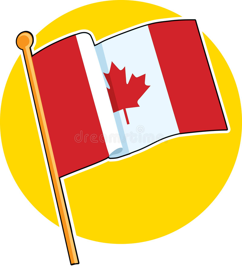 Canadian Flag. The Canadian flag on a yellow circle vector illustration