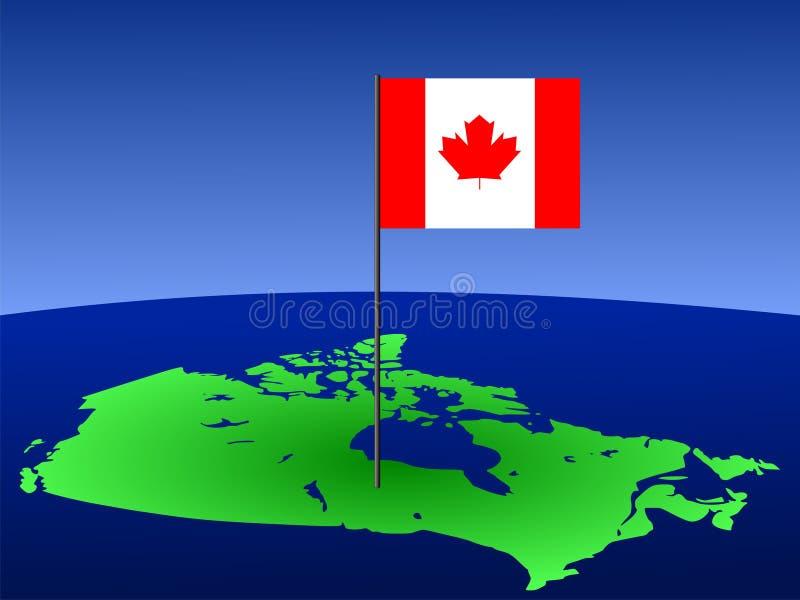 Canadian Flag On Map Stock Photos