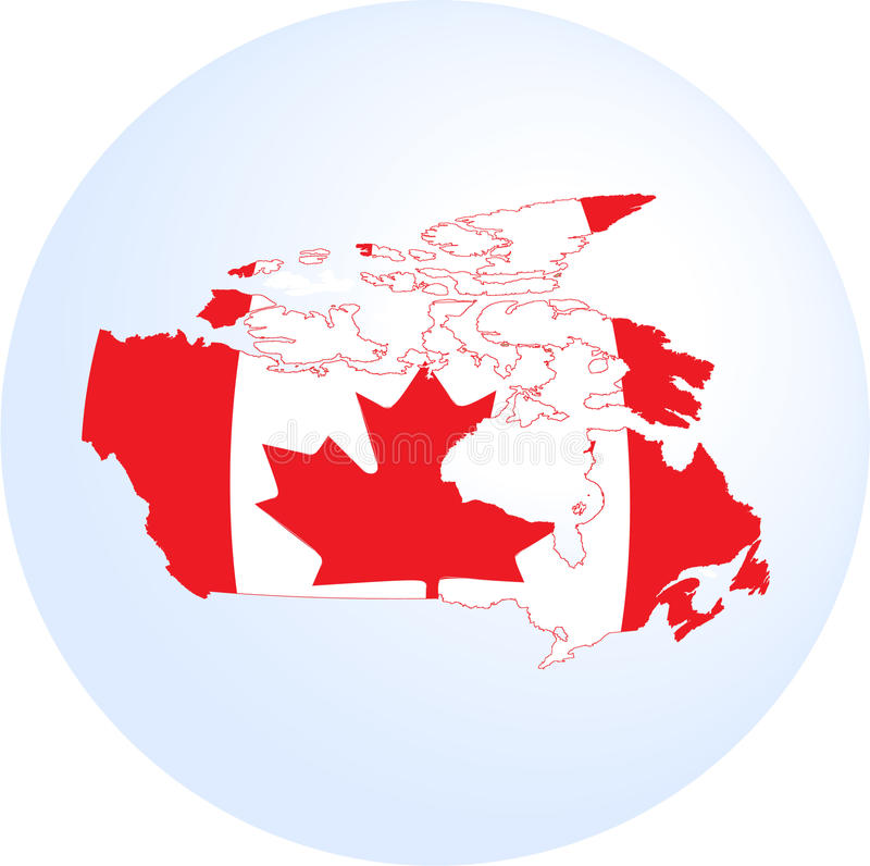Canadian flag and map. Isolated in white background stock illustration