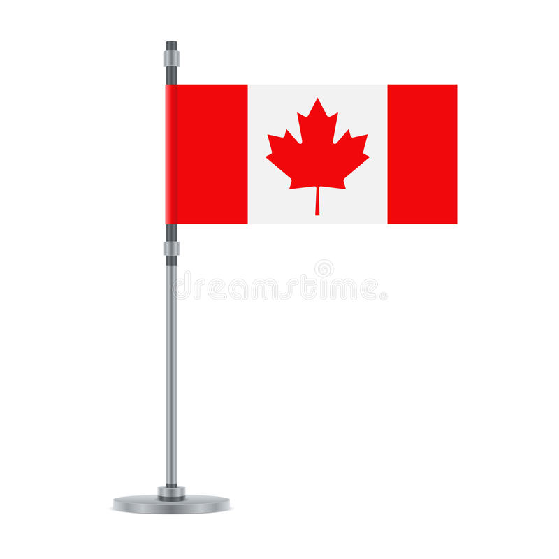 Canadian flag on the metallic pole, illustration. Flag design. Canadian flag on the metallic pole. Isolated template for your designs. Vector illustration stock illustration