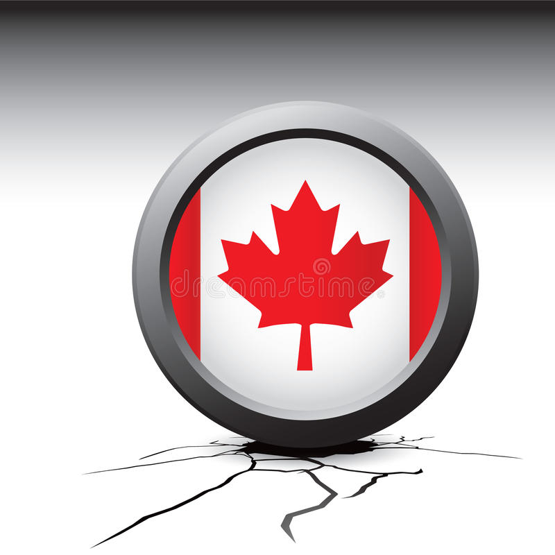 Canadian flag pin on cracked ground. Cracked ground with canadian flag pin royalty free illustration