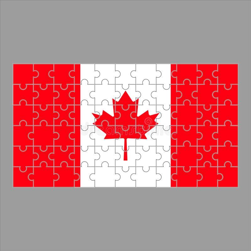 Canadian flag from puzzles on a gray royalty free illustration