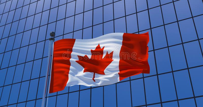 Canadian flag on skyscraper building background. 3d illustration. Canadian flag on skyscraper building background. Canada, Ottawa. 3d illustration royalty free illustration