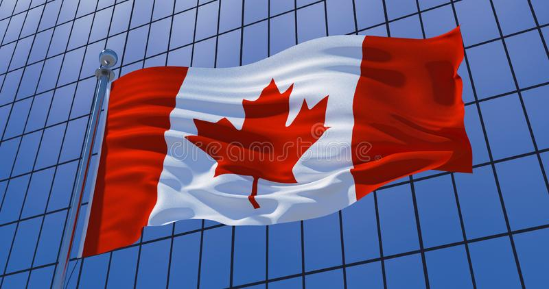Canadian flag on skyscraper building background. 3d illustration. Canadian flag on skyscraper building background. Canada, Ottawa. 3d illustration vector illustration
