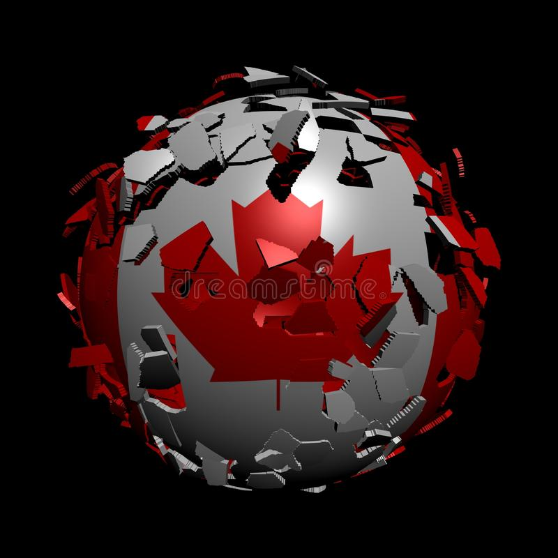 Canadian Flag Sphere Breaking Stock Images