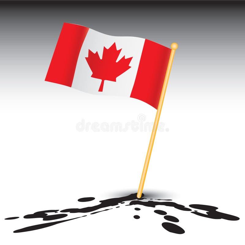 Canadian flag on splattered ground. Splattered ground with a canadian flag stock illustration