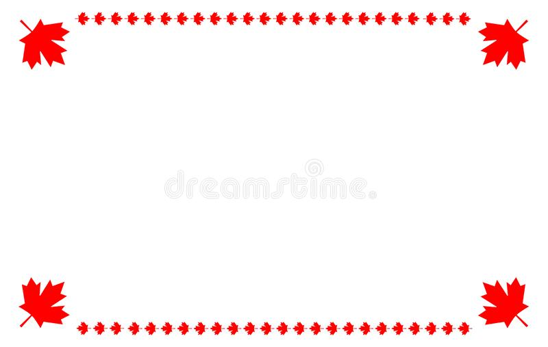 Canadian flag symbolism ribbon red maple leaf symbol frame banner vector illustration