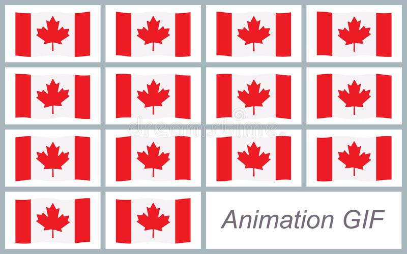 Canadian flag waving sprite sheet isolated on white background. Can be used for GIF animation vector illustration