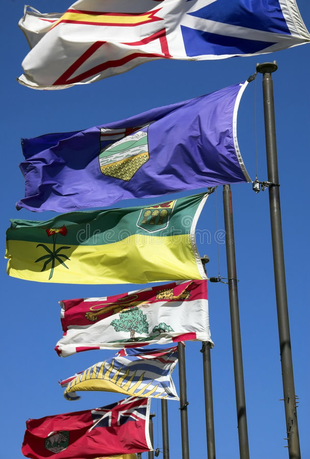 Canadian flags stock photography