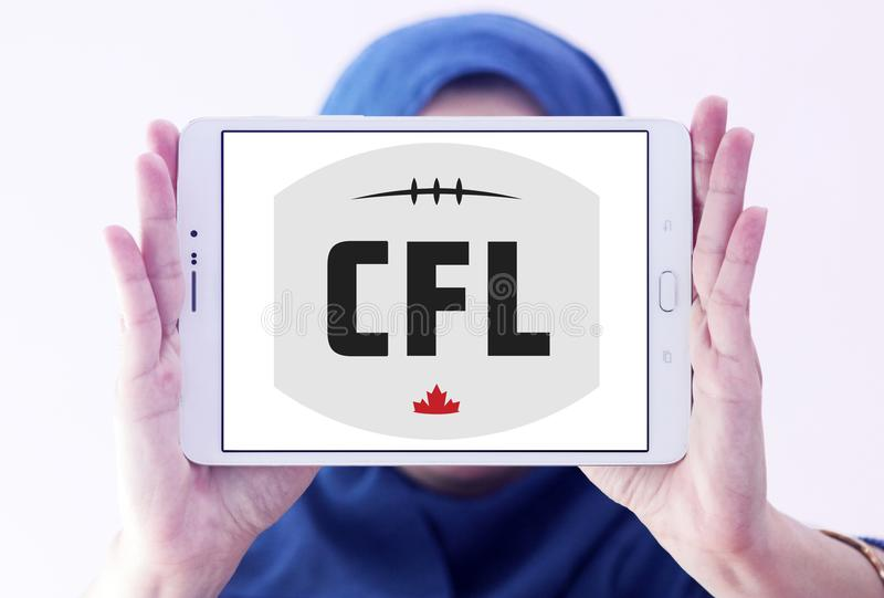 Canadian Football League, CFL logo. Logo of Canadian Football League, CFL on samsung tablet holded by arab muslim woman. CFL is a professional sports league in royalty free stock photography