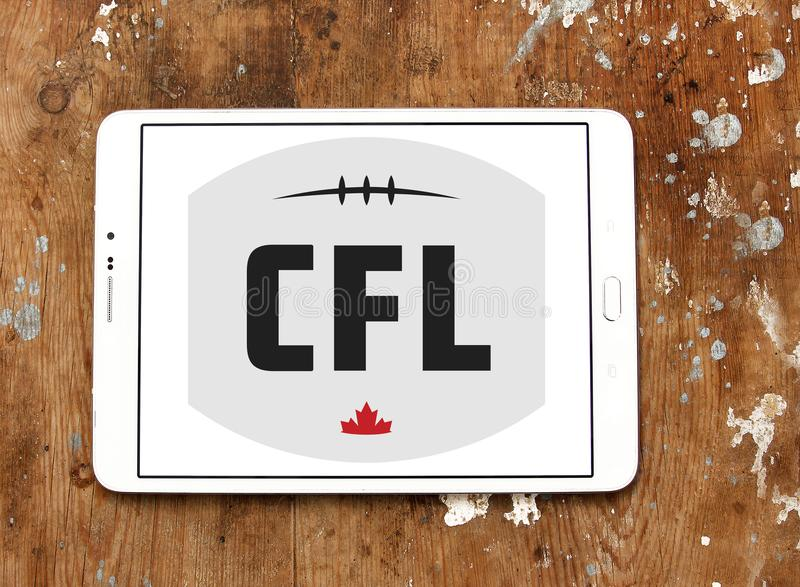 Canadian Football League, CFL logo. Logo of Canadian Football League, CFL on samsung tablet. CFL is a professional sports league in Canada. The CFL is the royalty free stock image