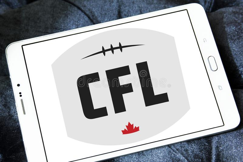 Canadian Football League, CFL logo. Logo of Canadian Football League, CFL on samsung tablet. CFL is a professional sports league in Canada. The CFL is the stock photos