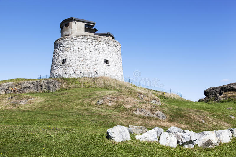 Canadian Fort. The view of Carleton Martello Tower, a defense structure in Saint John town (New Brunswick, Canada stock photo