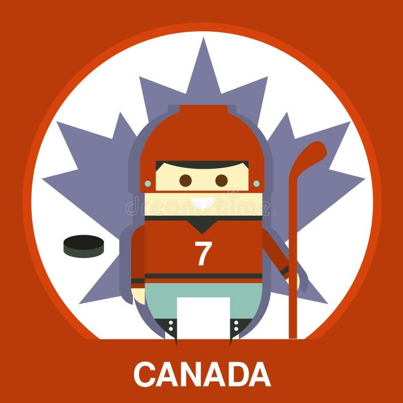 Canadian in Hockey Uniform Vector Illustration. Cartoon Canada hockey player on the maple leaf background in flat style, vector illustration stock illustration
