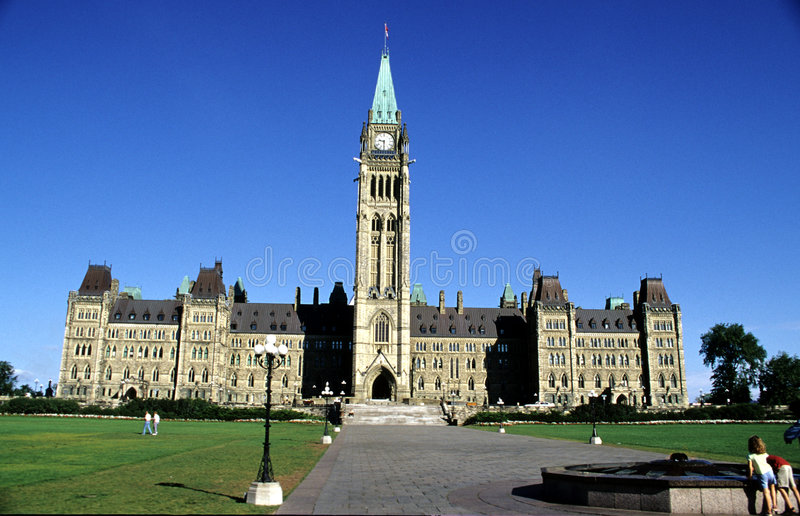 Canadian House of Parliament. Capital Hill and the Canadian House of Parliament in Ottawa royalty free stock photography