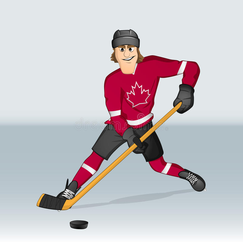 Canadian ice hockey player. Drawn in cartoon style royalty free illustration