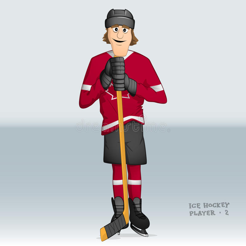 Canadian ice hockey player. Drawn in cartoon style stock illustration