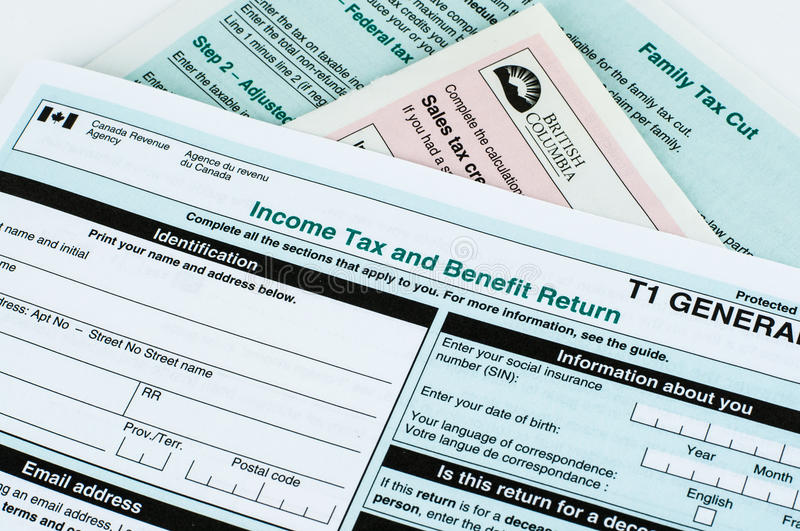 Canadian individual tax form. T1 for year 2015 stock photos