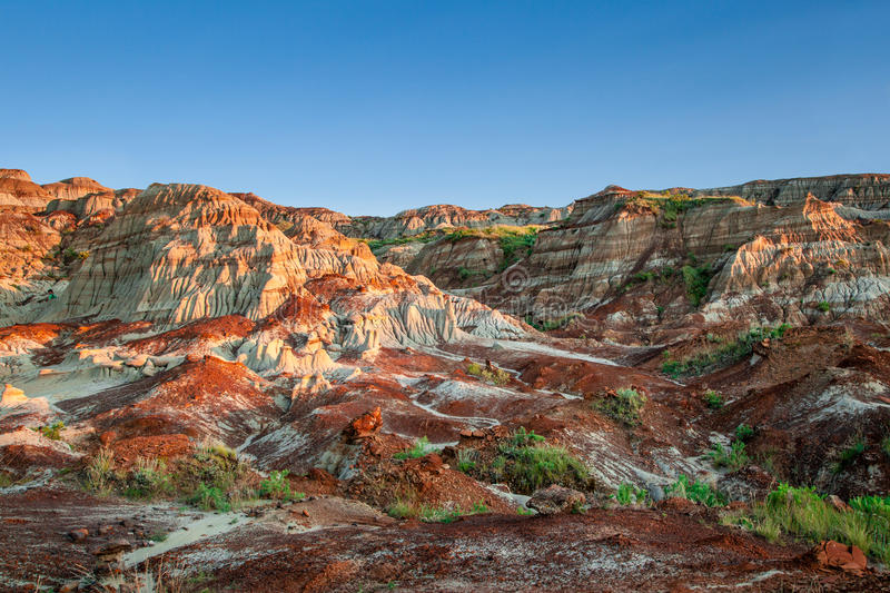 Canadian Landscape: The Badlands of Drumheller, Alberta. Near sunset over the Drumheller badlands at the Dinosaur Provincial Park in Alberta, where rich deposits stock image