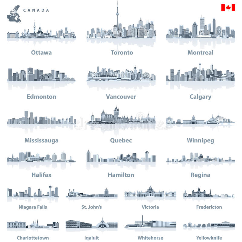 Canadian largest cities and all states capitals skylines in tints of blue color palette with water reflections. Vector Canadian largest cities and all states royalty free illustration