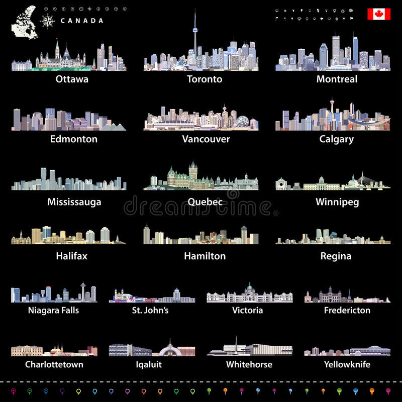 Free Canadian Largest Cities And All States Capitals Skylines In Bright Color Palettes With Map And Flag Of Canada Royalty Free Stock Image - 90106236