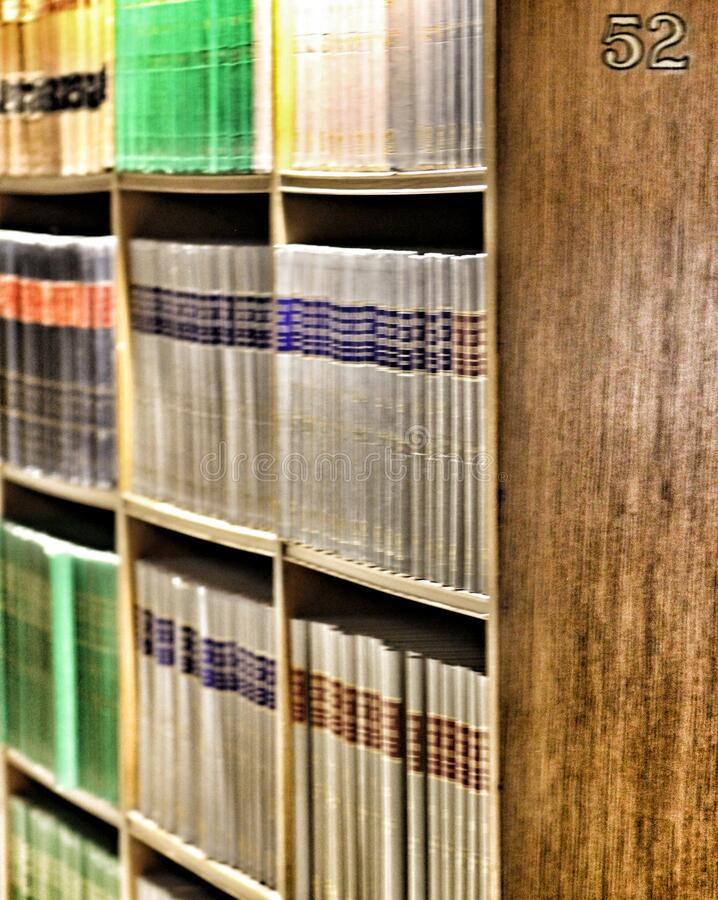 Canadian law books on shelf royalty free stock images