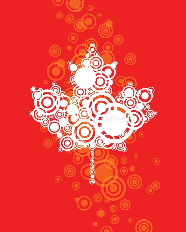 Canadian Leaf Background. A Canada Canadian Leaf on a red background stock illustration